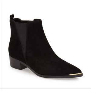 Marc Fisher Black Suede Booties Pointed Gold Toe